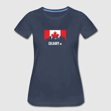 Canadian Flag Calgary Skyline - Women's Premium T-Shirt
