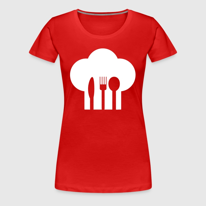 Chef hat with knife, fork and spoon - Women's Premium T-Shirt