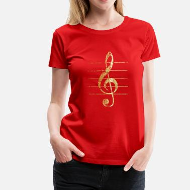 Treble G-Clef - Treble Clef - Sheet Lines (Ancient Gold) - Women's Premium T-Shirt