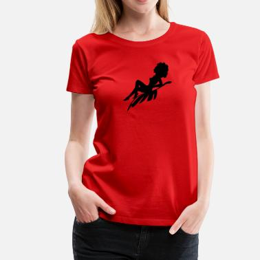 Afro Silhouette Afro Woman Sitting On Silhouette - Women's Premium T-Shirt