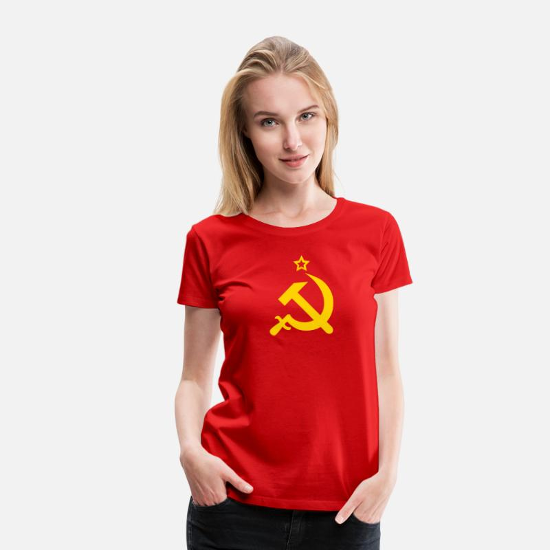 Cccp T-Shirts - Hammer and Sickle CCCP USSR Coat of Arms Russia - Women's Premium T-Shirt red