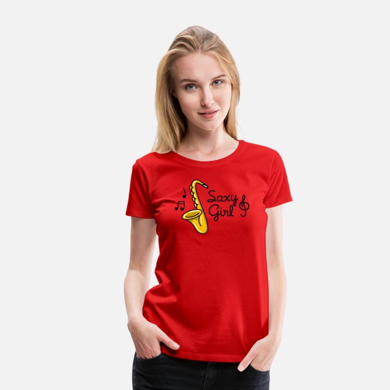 bc1cfde7458 Funny T-Shirts - Saxy girl - Sexy Saxophone pun - Women s Premium T-
