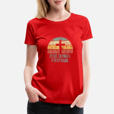 Christian Grey Jesus Cross Faith Retro Vintage Gift - Women's Premium T-Shirt