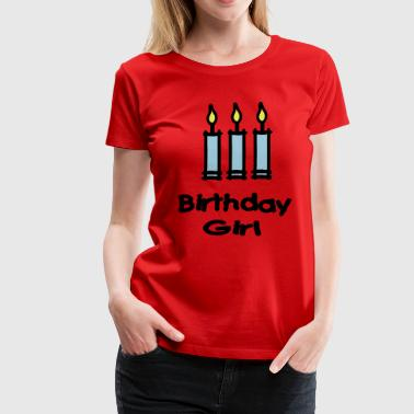 Birthday Girl With 3 Candles - Women's Premium T-Shirt