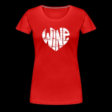 Vintage Graphic Wine Heart in Red - Women's Premium T-Shirt