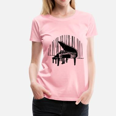 Funny Piano Piano In Front Of Curtain - Women's Premium T-Shirt