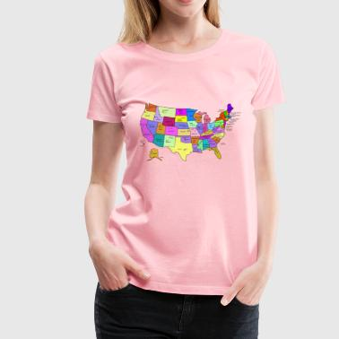 United States Map With Capitals, and State Names - Women's Premium T-Shirt