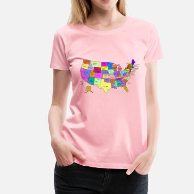 State Capital United States Map With Capitals, and State Names - Women's Premium T-Shirt