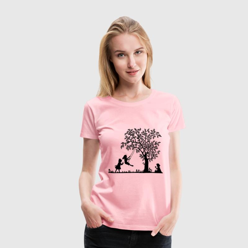 3 Girls Playing Vintage Silhouette Trace 2 - Women's Premium T-Shirt
