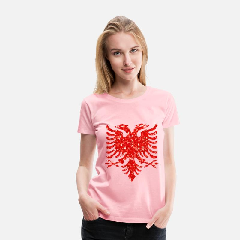 Abstract T-Shirts - Ruby Double Headed Eagle - Women's Premium T-Shirt pink