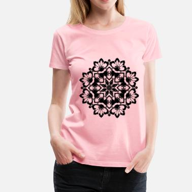 Ornamental Floral Flourish Silhouette Design - Women's Premium T-Shirt