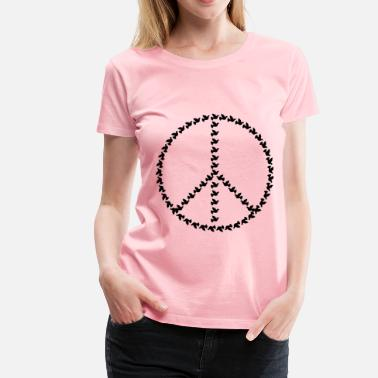 Black Peace Sign Peace Dove Sign Black - Women's Premium T-Shirt