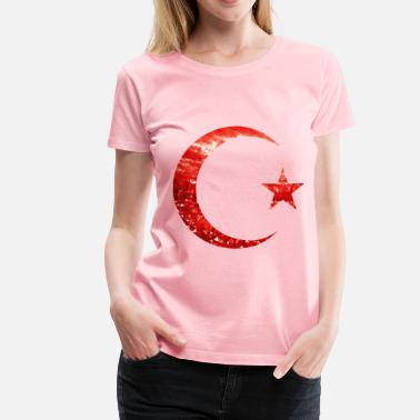 Be Healthy Religion Ruby Crescent And Star - Women's Premium T-Shirt