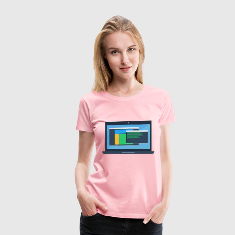 Laptop Mockup - Women's Premium T-Shirt