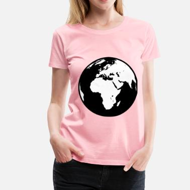 Africa Asia Globe showing Africa, Asia and Europe in black and white (detailed) - Women's Premium T-Shirt