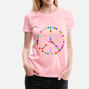 Colorful Hearts Colorful Peace Sign Love - Women's Premium T-Shirt
