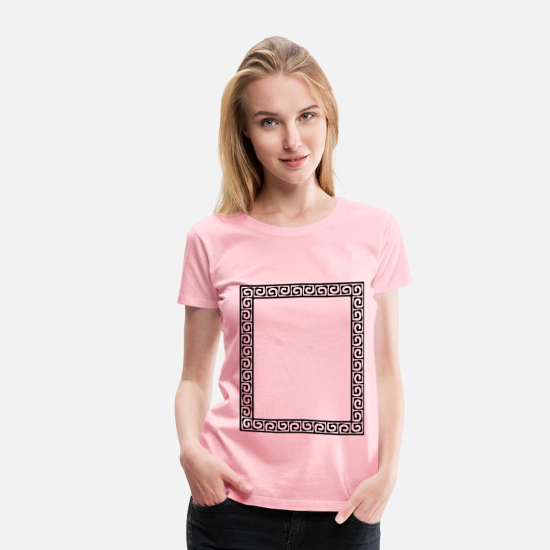 Greek T-Shirts - Greek key pattern 2 - Women's Premium T-Shirt pink
