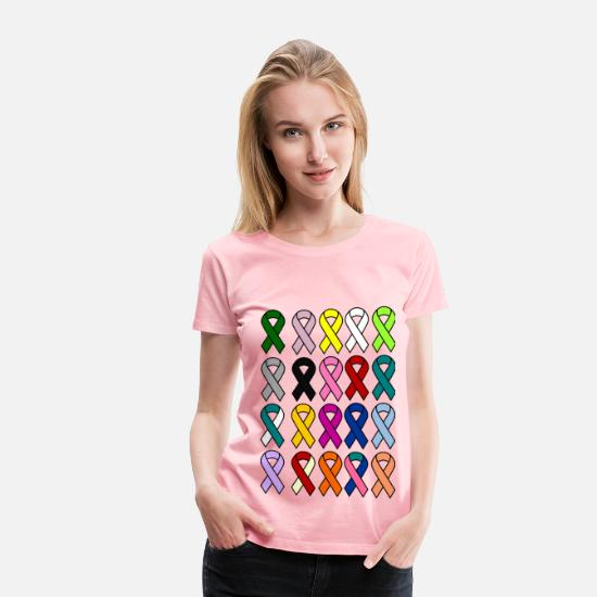 Cure T-Shirts - Cancer Ribbon - Women's Premium T-Shirt pink
