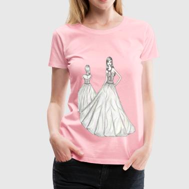 Woman Fashion Dress Sketch - Women's Premium T-Shirt