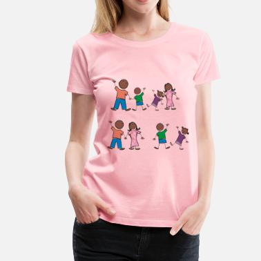 Black Family Black Stick Figure Family - Women's Premium T-Shirt