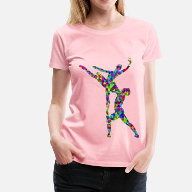 Ballet Man Prismatic Low Poly Woman And Man Ballet Silhouette - Women's Premium T-Shirt