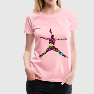 Floral Jumping Girl Silhouette - Women's Premium T-Shirt