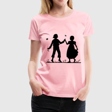 Vintage Silhouette Of A Boy And Girl - Women's Premium T-Shirt