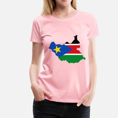 South Sudan South Sudan Flag Map With Stroke - Women's Premium T-Shirt