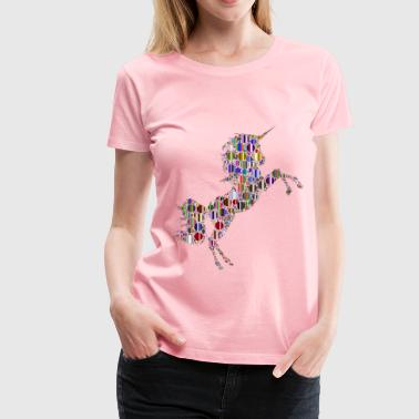 Prismatic Unicorn Silhouette 2 Circles 8 No Backg - Women's Premium T-Shirt