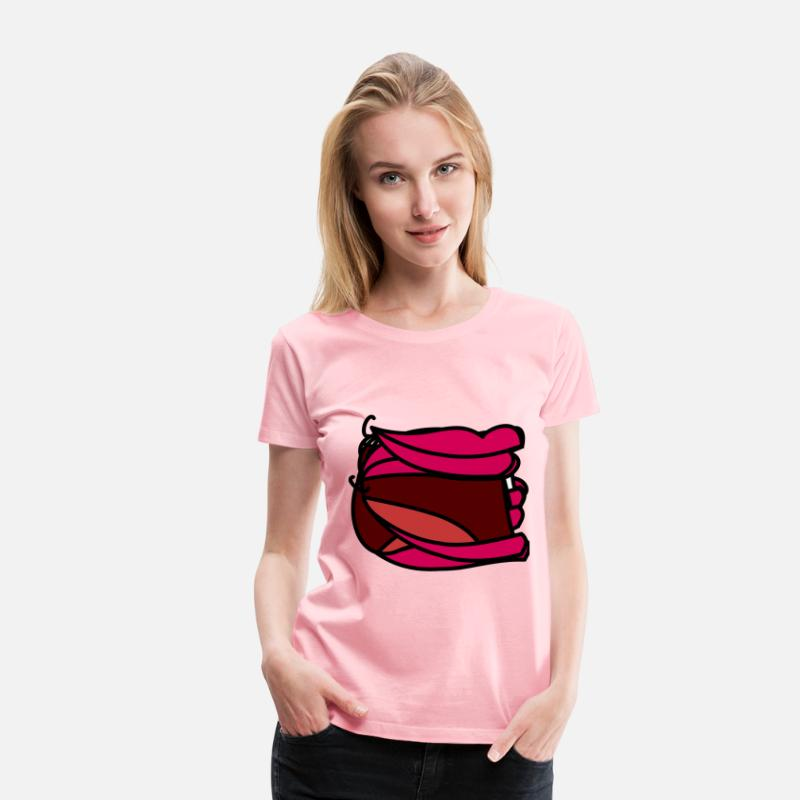 Animal T-Shirts - Cartoon mouth template (female) - Women's Premium T-Shirt pink