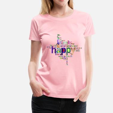 4 Words Prismatic Happy Family Word Cloud 4 No Background - Women's Premium T-Shirt
