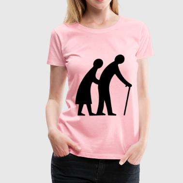 Old Couple Walking Silhouette - Women's Premium T-Shirt