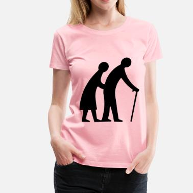 Old Couple Old Couple Walking Silhouette - Women's Premium T-Shirt