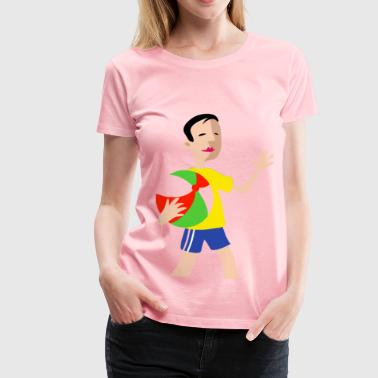 Boy with ball - Women's Premium T-Shirt