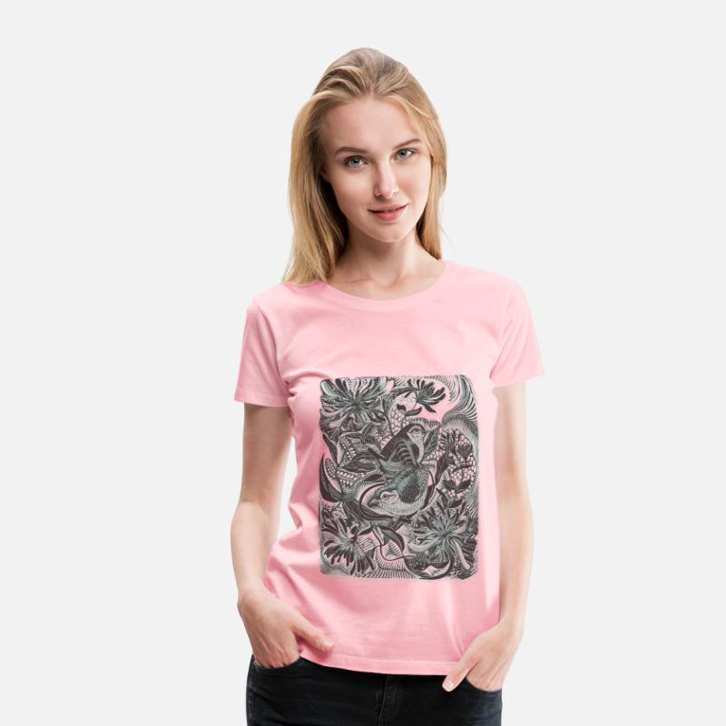 Nature T-Shirts - Birds in forest 01 Blur - Women's Premium T-Shirt pink