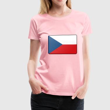 Czech Republic flag (bevelled) - Women's Premium T-Shirt