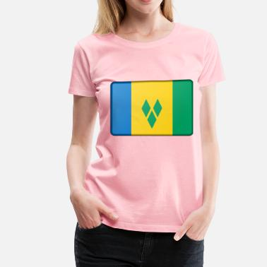 Saint Vincent And The Grenadines Saint Vincent and the Grenadines flag (bevelled) - Women's Premium T-Shirt
