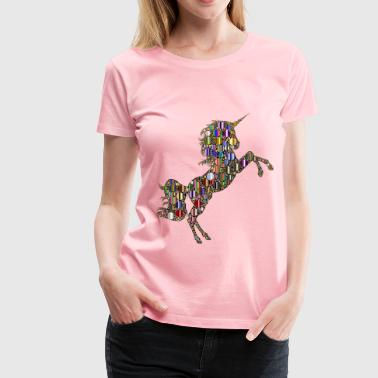 Prismatic Unicorn Silhouette 2 Circles 8 Variatio - Women's Premium T-Shirt