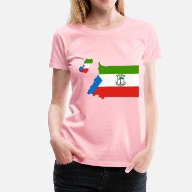 Equatorial Guinea Flag Map With Stroke - Women's Premium T-Shirt