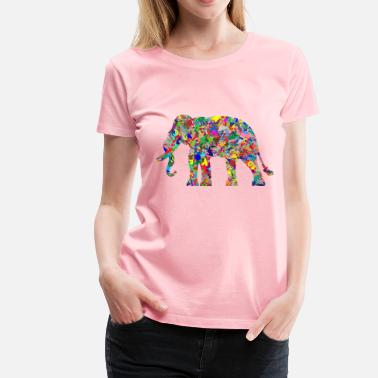Bright Colors Modern Art Elephant - Women's Premium T-Shirt