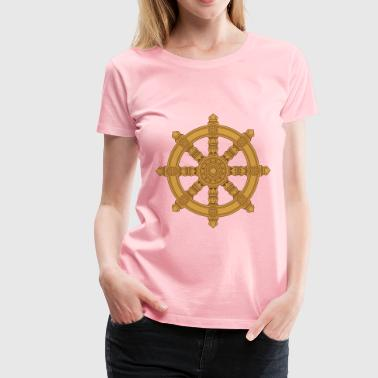 Ornate Dharma Wheel - Women's Premium T-Shirt