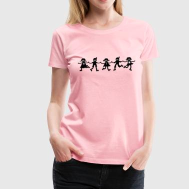 Children Line Dancing Silhouette - Women's Premium T-Shirt