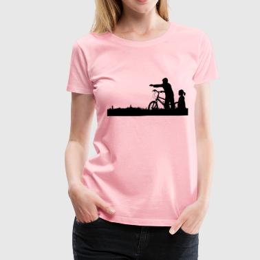 Landscapes Kids Kids And Bike Silhouette - Women's Premium T-Shirt
