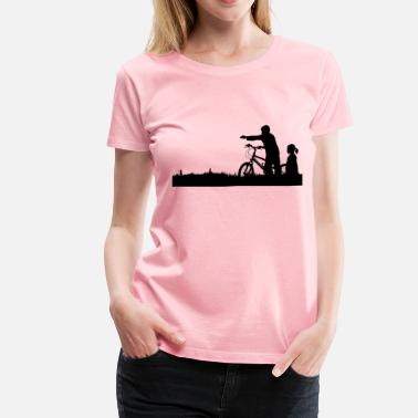 Kids Bike Kids And Bike Silhouette - Women's Premium T-Shirt