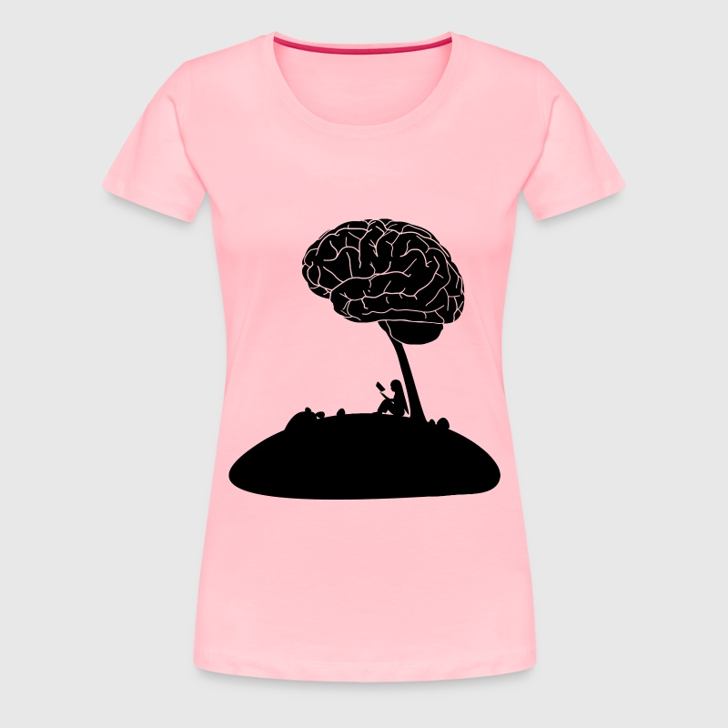 Girl Reading Book Under A Brain Tree - Women's Premium T-Shirt