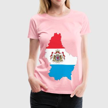 Luxembourg Map Flag With Stroke And Coat Of Arms - Women's Premium T-Shirt