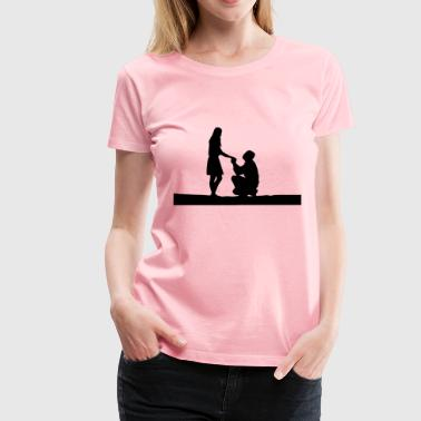 Marriage Proposal Silhouette - Women's Premium T-Shirt