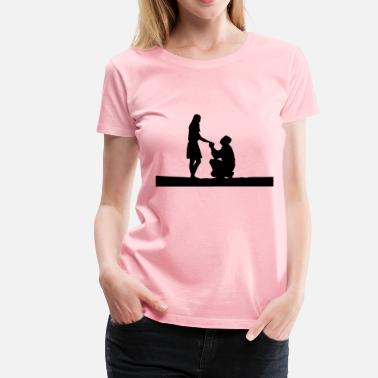 Marriage Proposal Marriage Proposal Silhouette - Women's Premium T-Shirt
