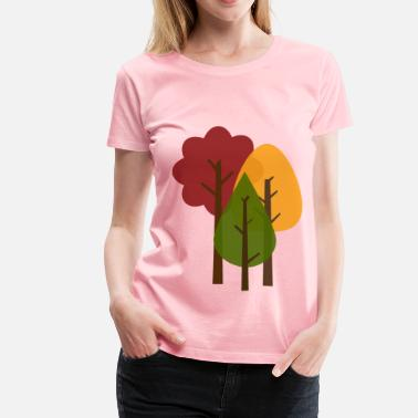 Falling Collar Fall Trees - Women's Premium T-Shirt