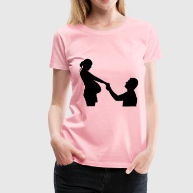 Husband With Pregnant Wife - Women's Premium T-Shirt